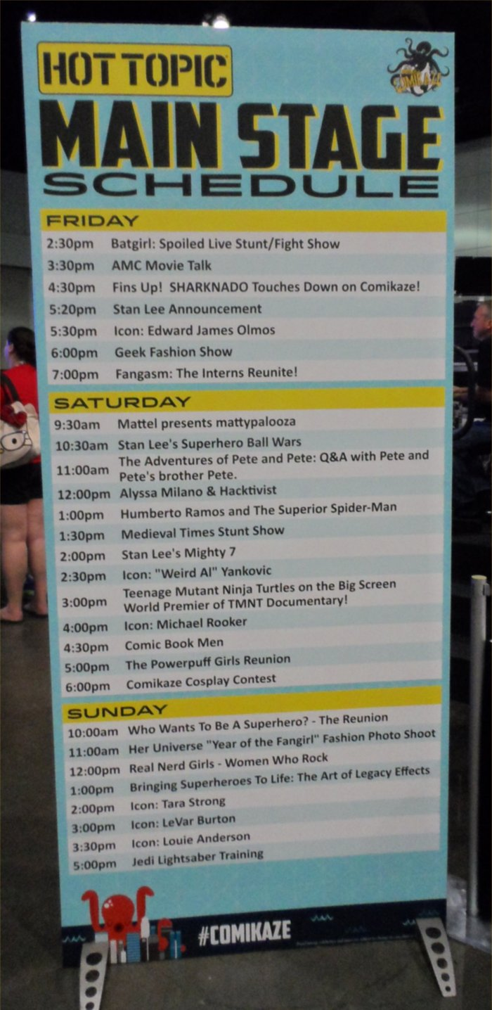 Comikaze, Main Stage Schedule