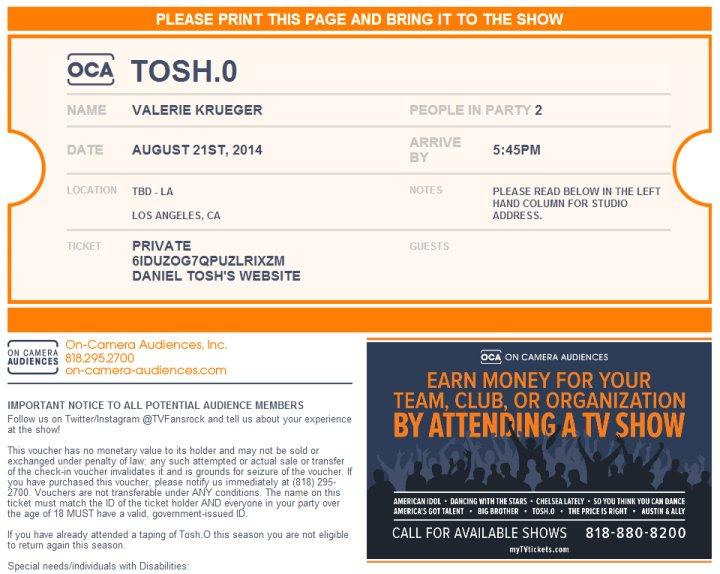 Tosh.0 ticket