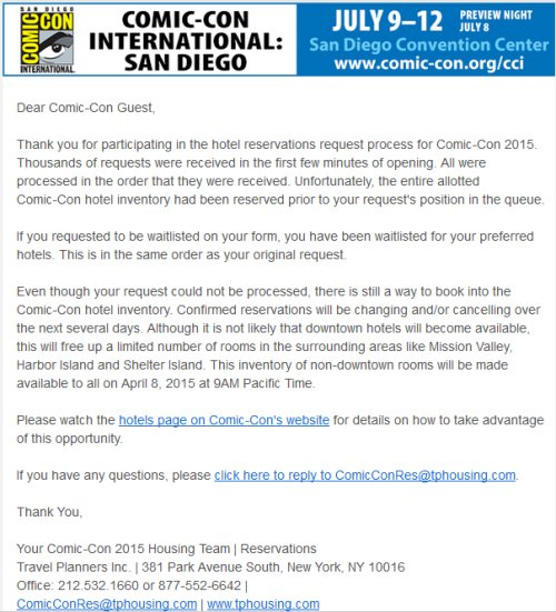 SDCC, Hotelpocalypse, rejection email