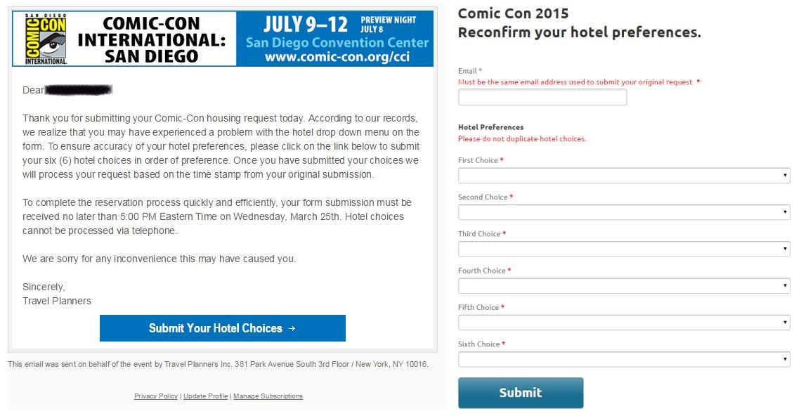 SDCC Hotelpocalypse, hotel email