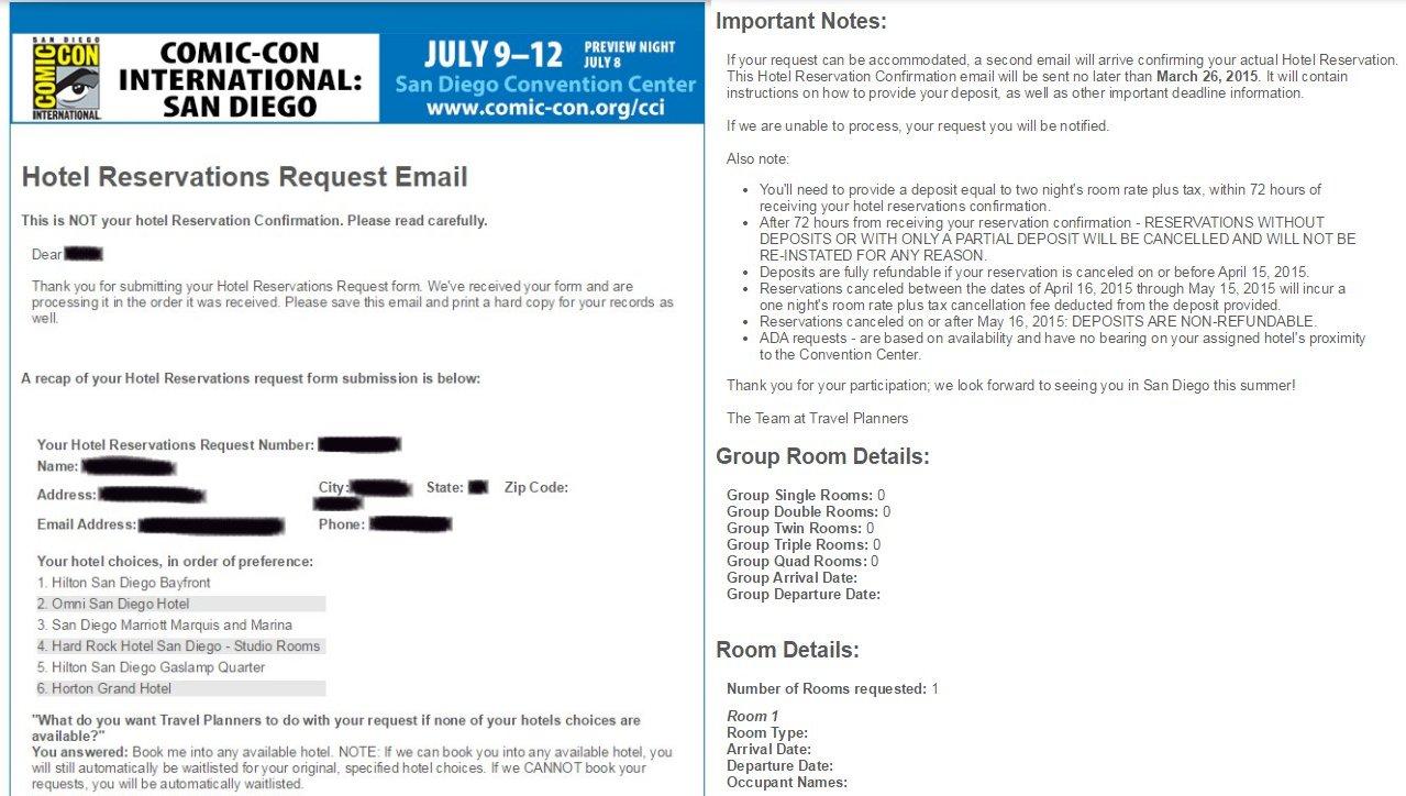 SDCC, Hotelpocalypse, hotel, email