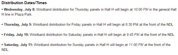 SDCC Hall H wristband distribution