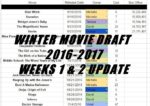 Winter Movie Draft 2016 – Weeks 1 & 2