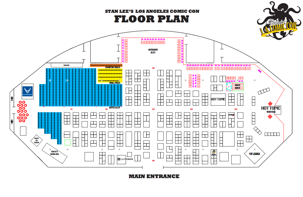 Stan Lee's Los Angeles Comic Con Floor Plan