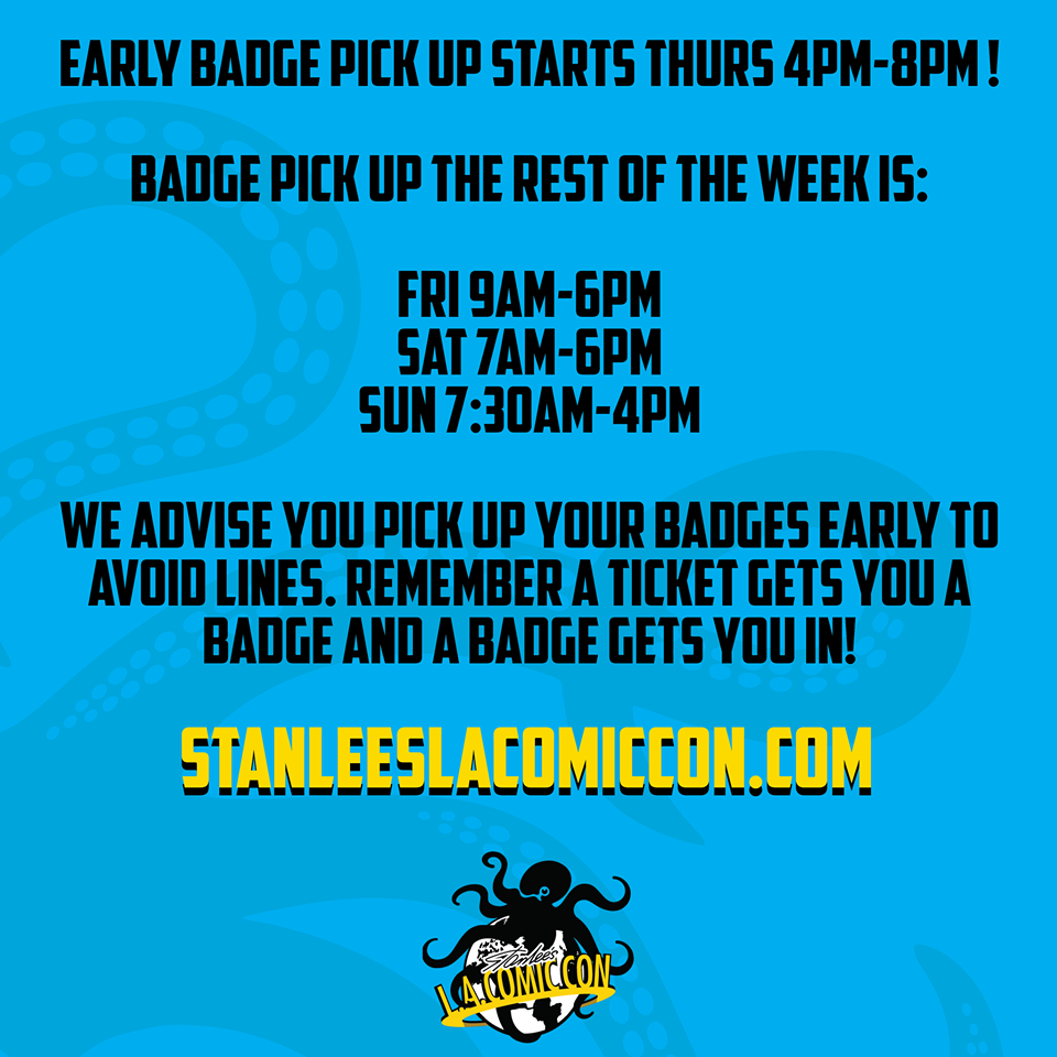 LA Comic Con badge pickup times