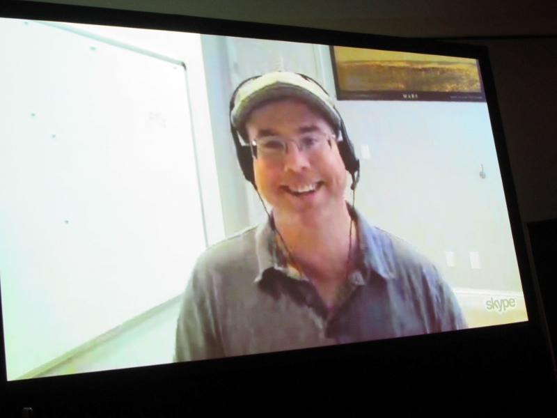 Andy Weir Skyping in for the Artemis panel at NYCC 2017