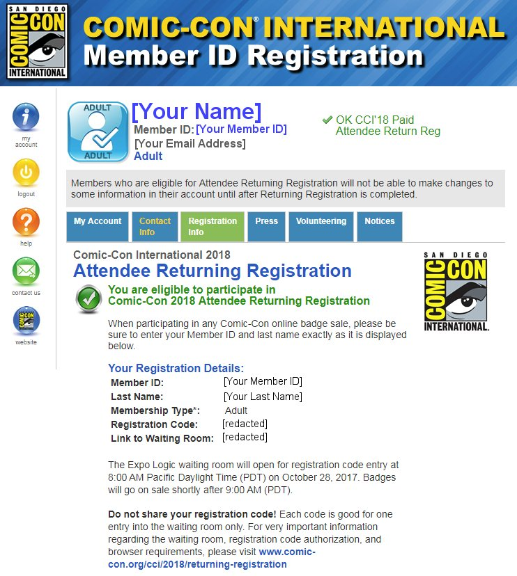 SDCC 2018 Returning Registration