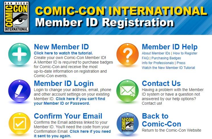 Comic-Con International Member ID Registration