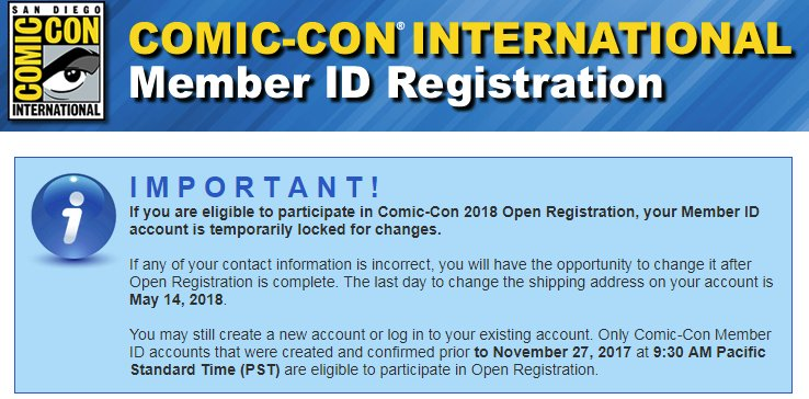 SDCC 2018 Member ID Registration