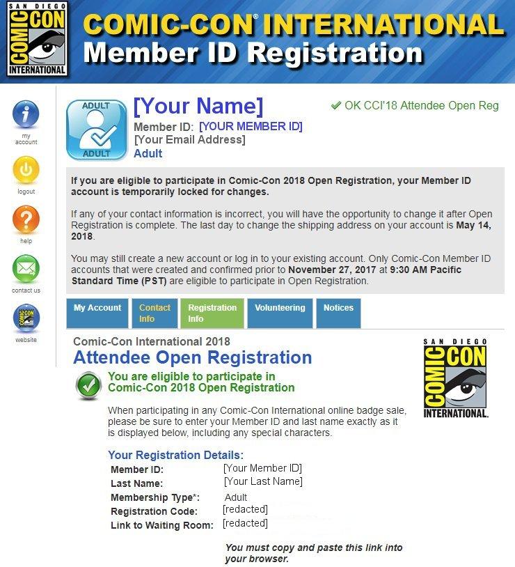 SDCC 2018 Open Registration