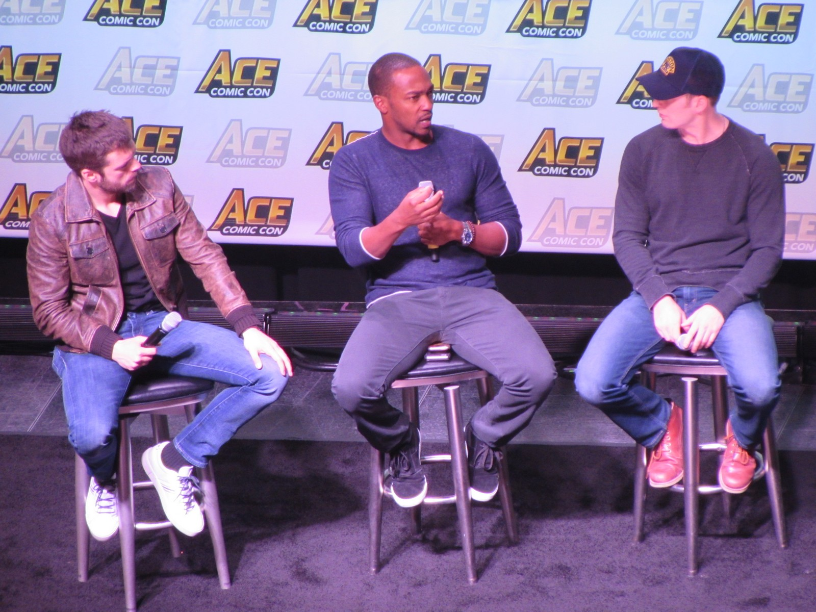 Ace Comic Con Captain America panel with Sebastian Stan, Anthony Mackie, and Chris Evans